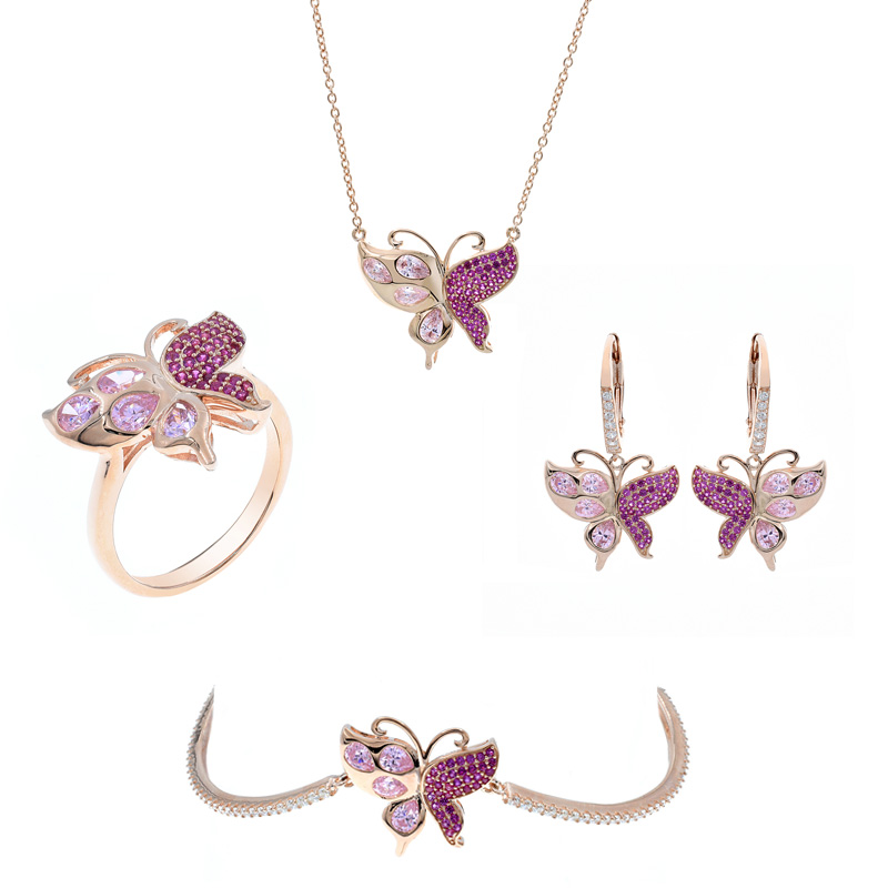 butterfly silver jewelry set for ladies