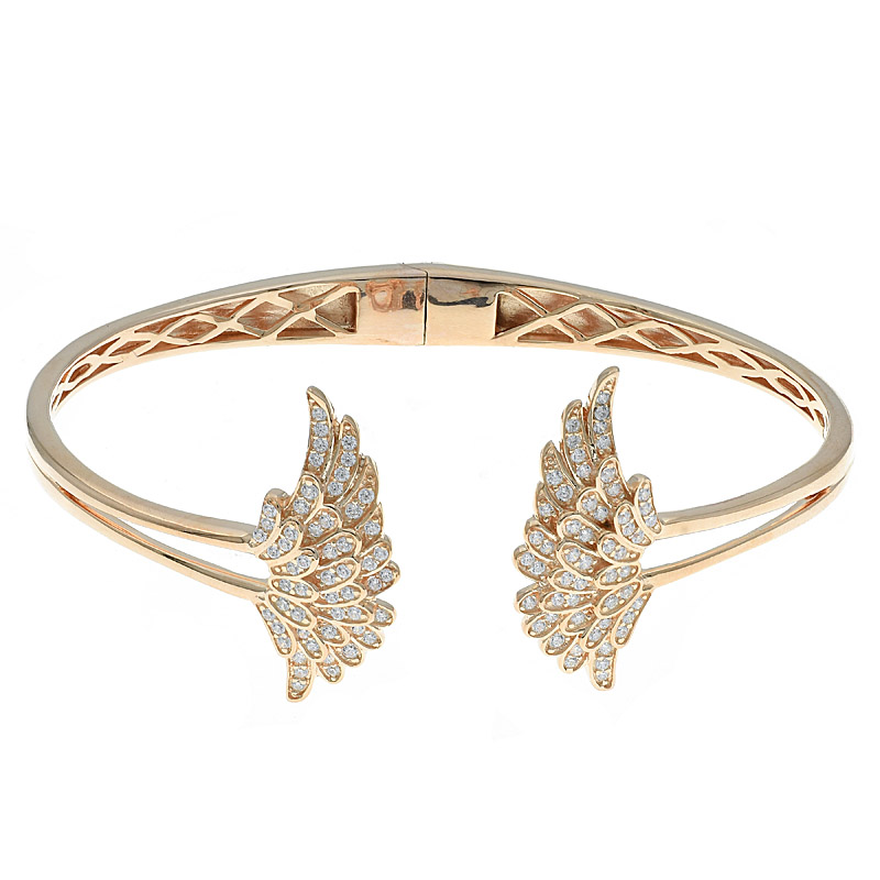925 Double Wing Open Bangle For Women