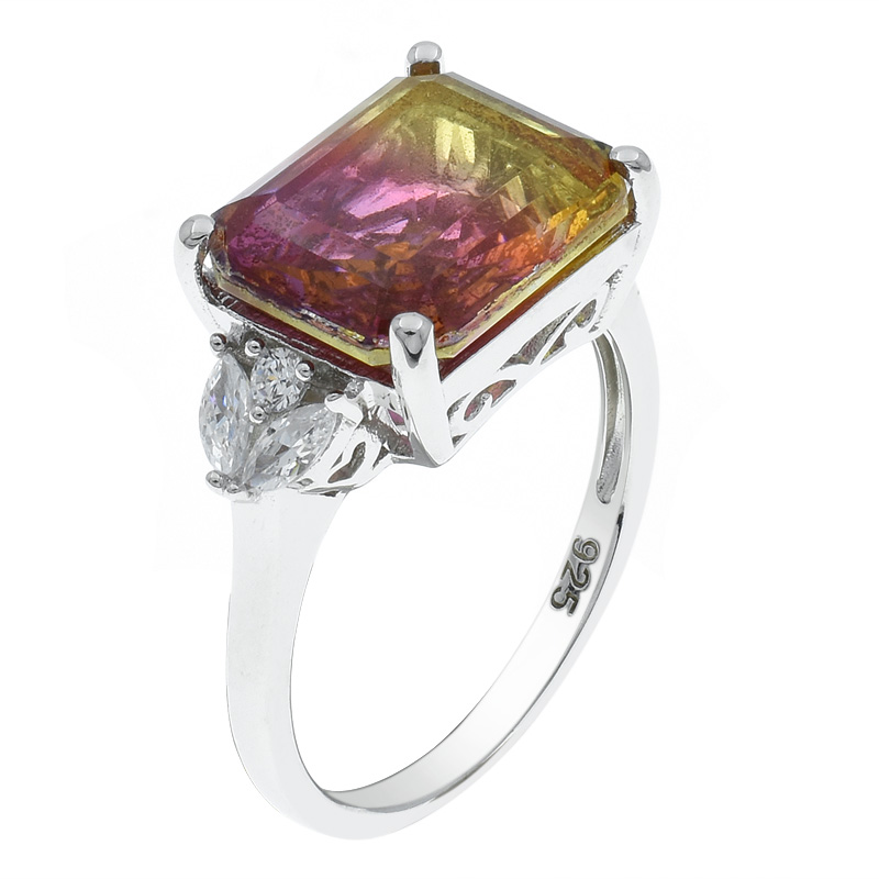 Women Princess Cut Ametrine Ring