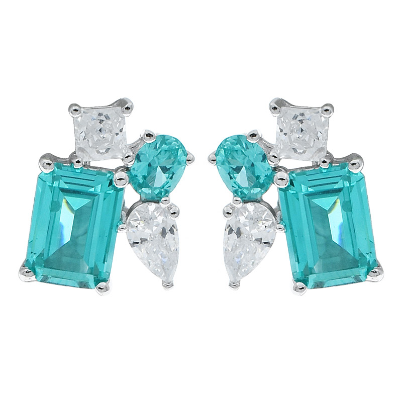 China Women Paraiba Stud Earrings