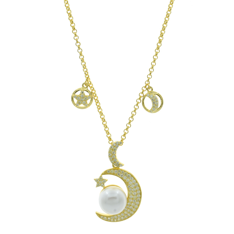 Crescent Moon Star Pearl 925 Necklace