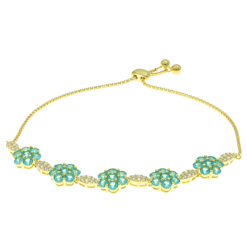 Women Bolo Flower Bracelet With Paraiba