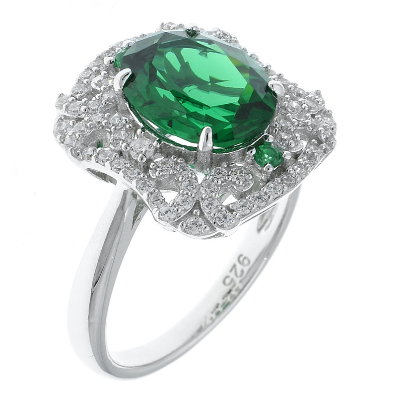Women Rhodium Plated Filigree Ring With Green Nano