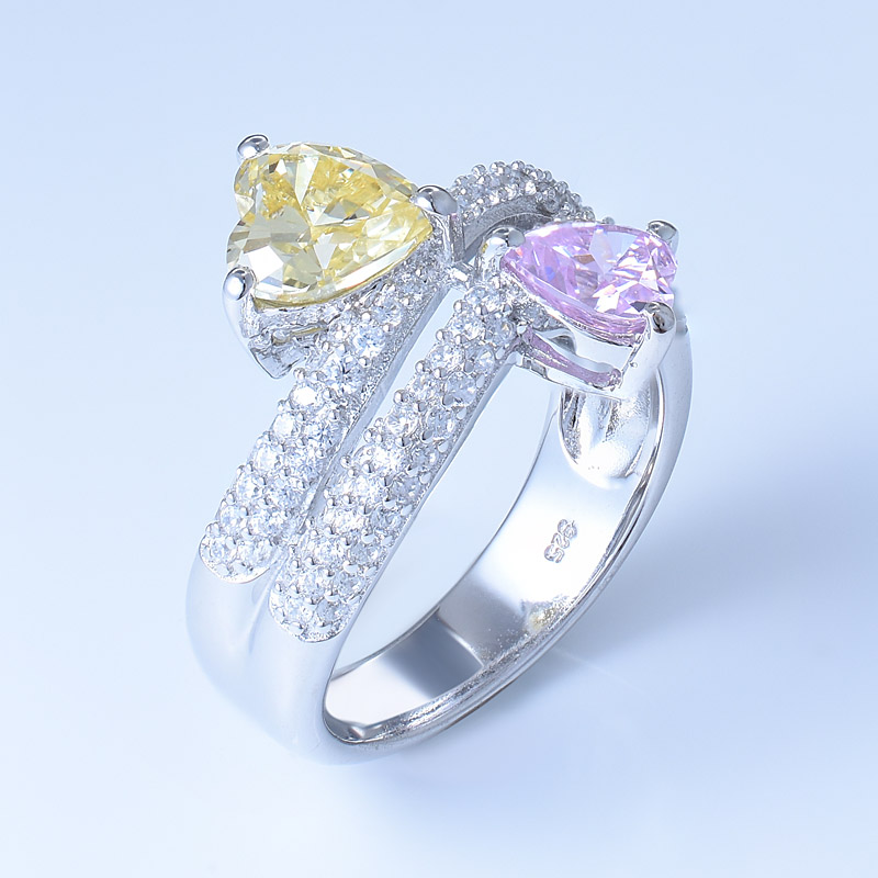 Heart Shape Silver Ring For Ladies