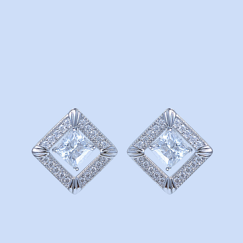 Diamond Square Halo Earrings
