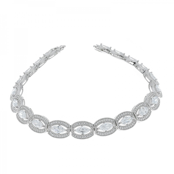 cinturino in argento sterling 925 con marquise bianco cz