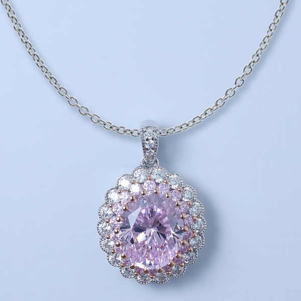 Set di gioielli in argento sterling 925 con diamante rosa cz
