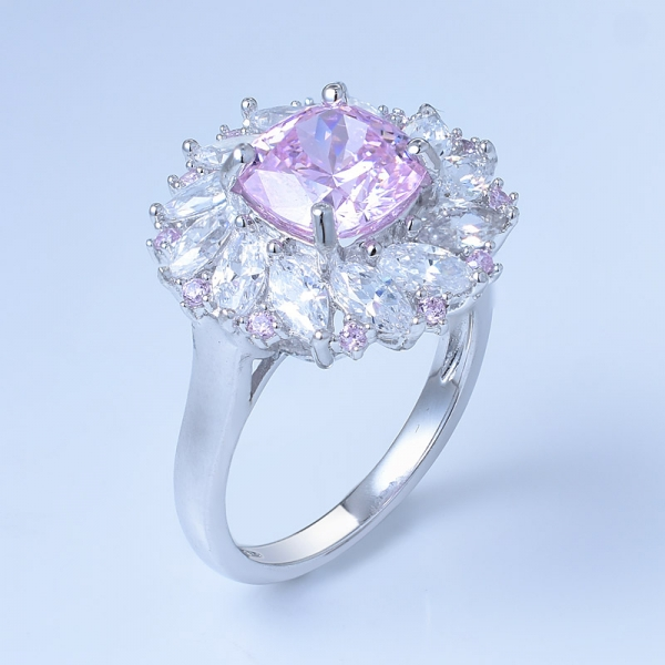 Anello gioiello in argento 925 con diamanti rosa fancy